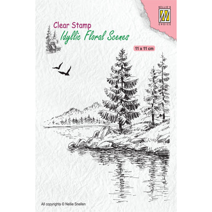 Idyllic Floral Scene Wintery Water's Edge Stamp by Nellie's Choice