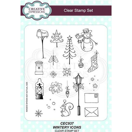 Wintery Icons A5 Clear Stamp Set by Creative Expressions