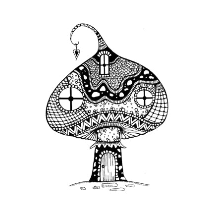 Zen Large Mushroom House by Lavinia Stamps LAV309 Artist Tracey Dutton available at Del Bello's Designs