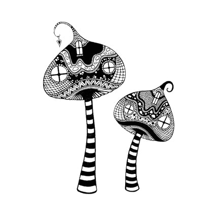 Zen Tall Mushrooms by Lavinia Stamps LAV317 available at Del Bello's Designs