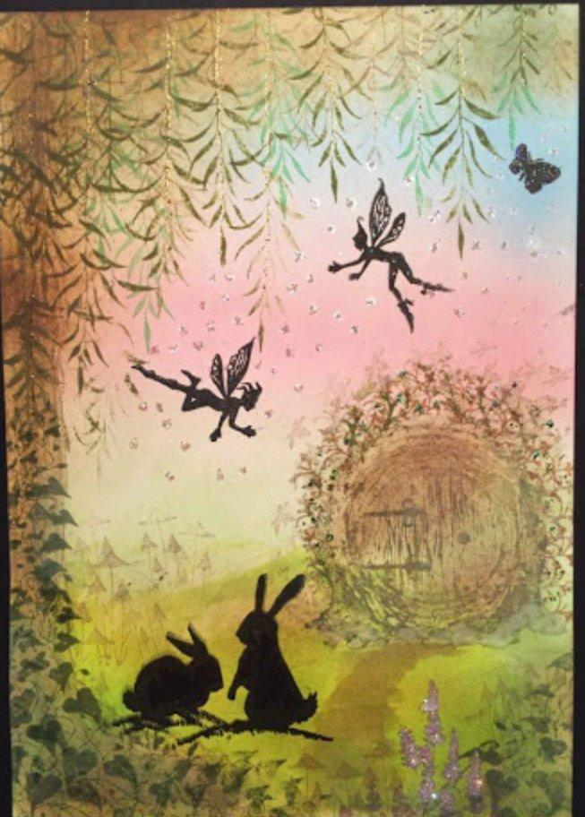 Three Dancing Fairies by Lavinia Stamps LAV136a available at Del Bello's Designs