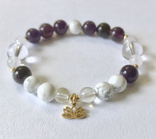 Load image into Gallery viewer, Crown Chakra Bracelet with Lotus Charm