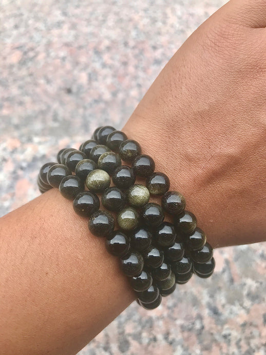 Gold Sheen Obsidian Beaded Bracelet - Root Chakra - Aligns, Protects and Reflects