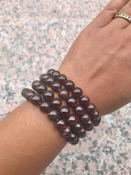 Garnet Beaded Bracelet - Root Chakra - Revitalizing and Protecting
