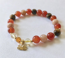 Load image into Gallery viewer, Sacral Chakra Bracelet with Lotus Charm