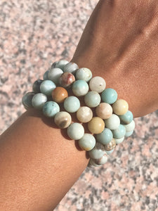 Amazonite Beaded Bracelet - Throat/Heart Chakra - Courage, Loving Communication
