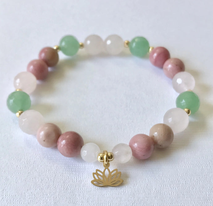 Heart Chakra Bracelet with Lotus Charm
