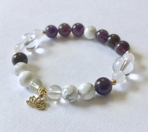 Crown Chakra Bracelet with Lotus Charm