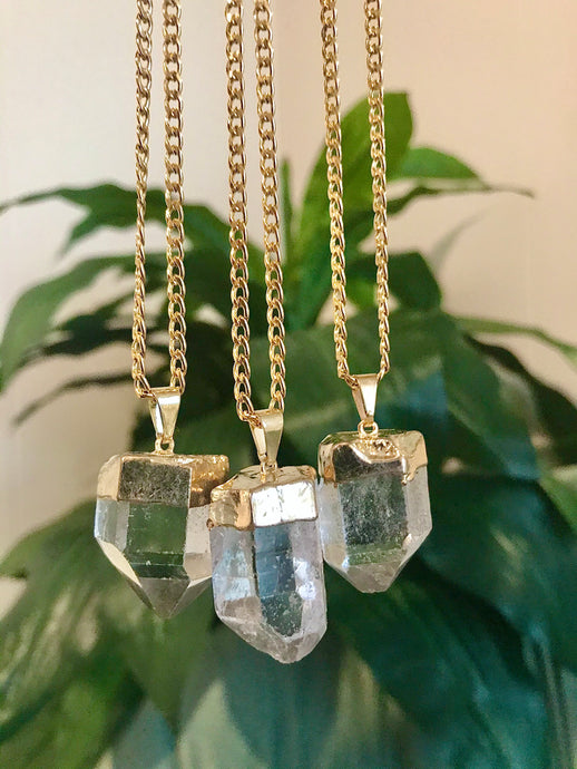 Crystal Quartz Chunky Point Necklace