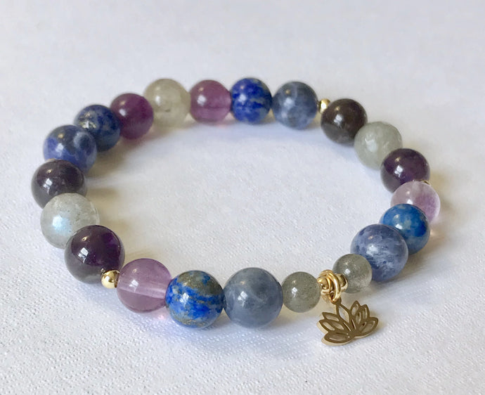 Third Eye Chakra Bracelet with Lotus Charm