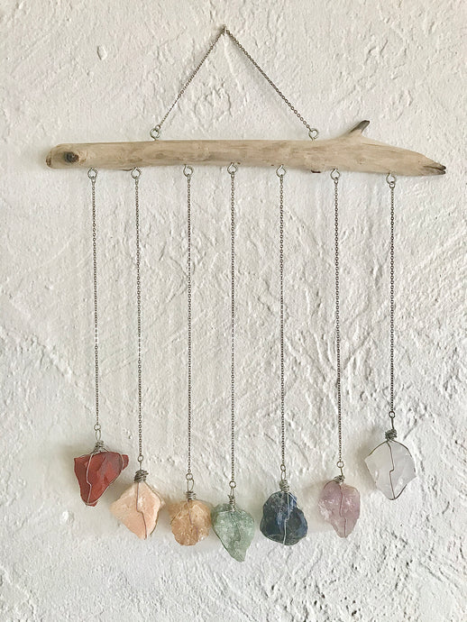 Chakra Crystal Wall Hanging - Wire Wrapped Rough Crystals - Driftwood Wall Decor - 7 Chakra Stones - Crystal Wall Hanging
