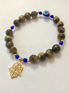 Tigers Eye Bracelet with Hamsa Hand and Evil Eye - Protection Bracelet