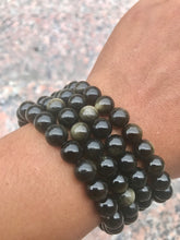 Load image into Gallery viewer, Gold Sheen Obsidian Beaded Bracelet - Root Chakra - Aligns, Protects and Reflects