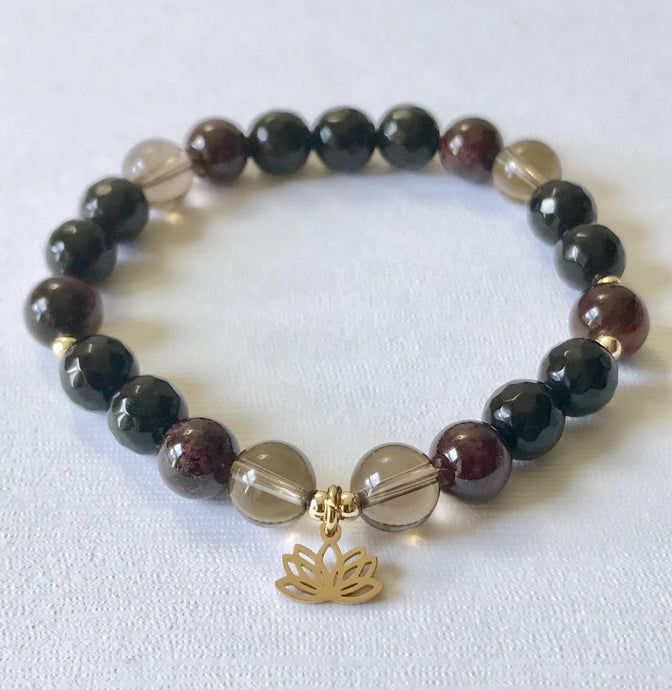 Root Chakra Bracelet with Lotus Charm