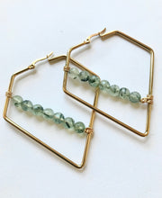 Load image into Gallery viewer, Prehnite Triangle Earrings