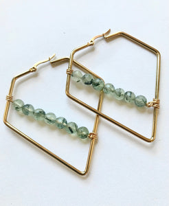 Prehnite Triangle Earrings