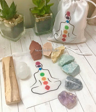 Load image into Gallery viewer, Rough Stone Chakra Set with Palo Santo & Chakra Bag