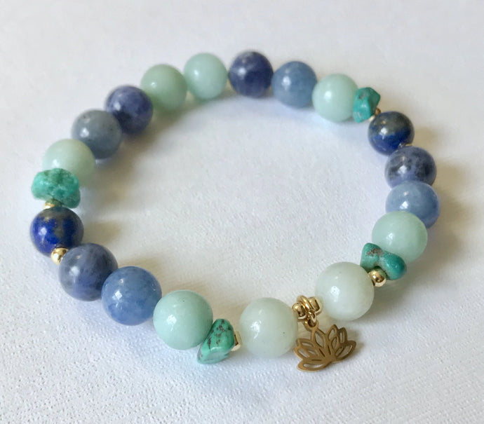 Throat Chakra Bracelet with Lotus Charm