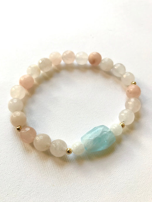 Pink Aventurine, Rainbow Moonstone & Aquamarine Bracelet for Peace and Inner Calm