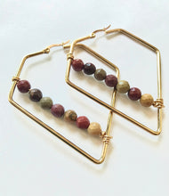 Load image into Gallery viewer, Mookaite Jasper Triangle Earrings