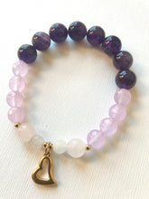 Load image into Gallery viewer, Amethyst, Purple Agate & Rose Quartz Bracelet with heart charm