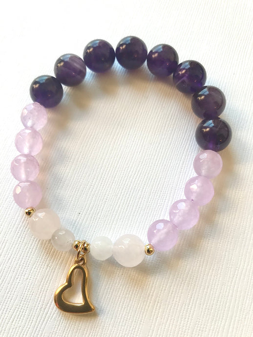 Amethyst, Purple Agate & Rose Quartz Bracelet with heart charm