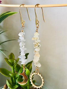 Sun & Moon - Citrine & Moonstone Dangle Earrings