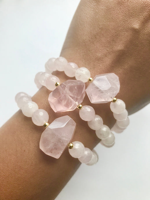 All of the LOVE - Rose Quartz Bracelet with Rose Quartz Nugget