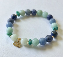 Load image into Gallery viewer, Throat Chakra Bracelet with Lotus Charm