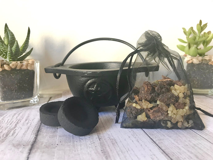 Frankincense & Myrrh Starter Kit - Resin, Charcoal & Cauldron