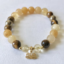 Load image into Gallery viewer, Solar Plexus Chakra Bracelet with Lotus Charm