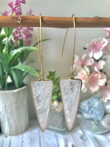 Crystal Quartz Minimalist Dangle Earrings