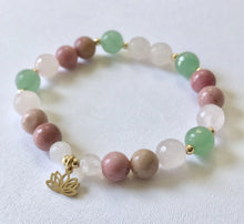 Load image into Gallery viewer, Heart Chakra Bracelet with Lotus Charm