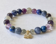 Load image into Gallery viewer, Third Eye Chakra Bracelet with Lotus Charm