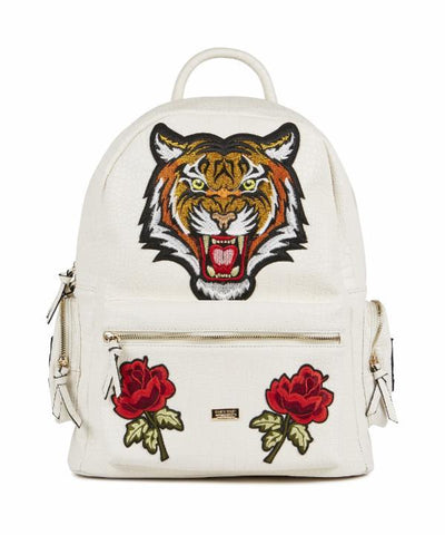 Reason Clothing Croc Skin Tiger Backpack - White