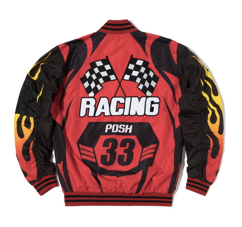 Posh NYC Moto Racing Bomber Jacket - Red/Black