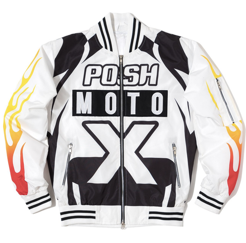 Posh NYC Moto Racing Bomber Jacket - White/Black