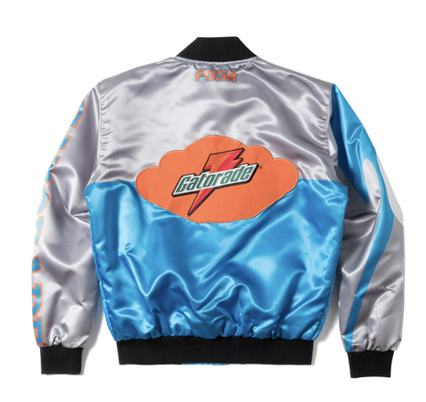 Posh NYC Gato Racing Two Tone Satin Bomber Jacket - Blue Cherry