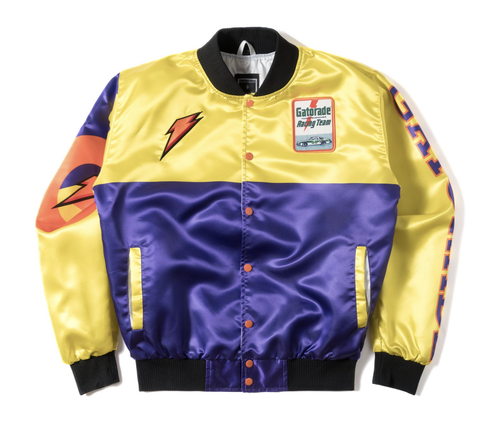 Posh NYC Gato Racing Two Tone Satin Bomber Jacket - Yellow/Purple