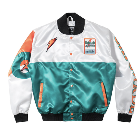 Posh NYC Gato Racing Two Tone Satin Bomber Jacket - White/Green