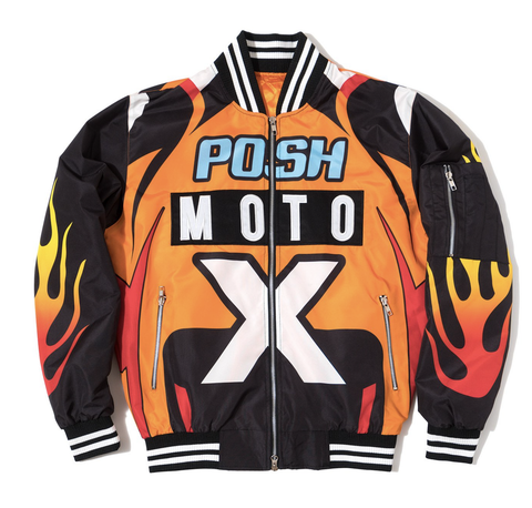 Posh NYC Moto Racing Bomber Jacket - Orange/Black