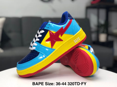 Ape Shall Never Kill Ape Sneakers - Blue/Red/Yellow