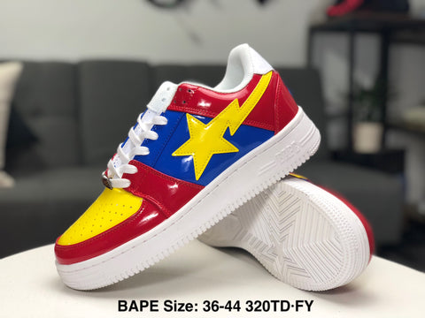 Ape Shall Never Kill Ape Sneakers - Red/Navy/Yellow