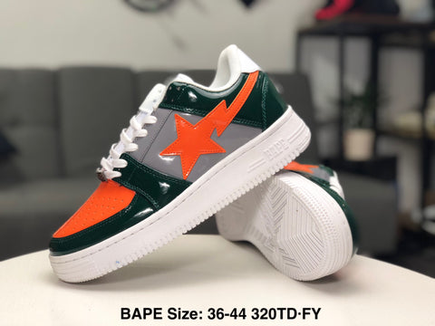 Ape Shall Never Kill Ape Sneakers - Grey/Orange/White