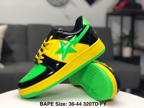 Ape Shall Never Kill Ape Sneakers - Green/Black/Yellow