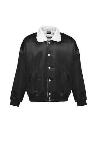 Paraval Black Satin Ace Jacket Bomber With Sherpa