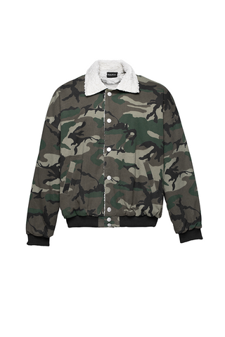 Paraval Camo Satin Ace Jacket Bomber With Sherpa
