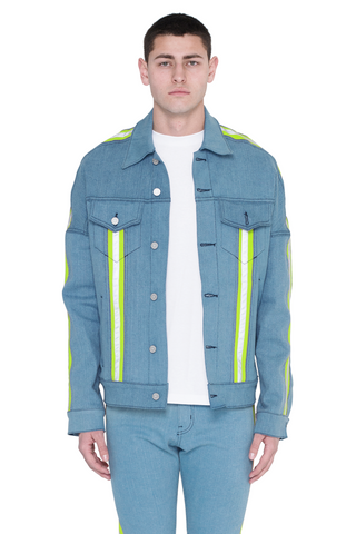 Paraval Jean Jacket (Blue and Highlighter Green)