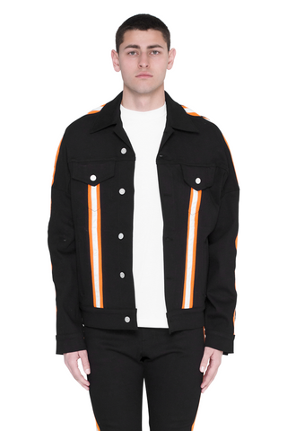 Paraval Jean Jacket (Black and Highlighter Orange)