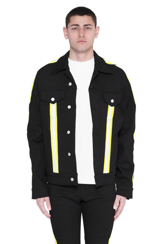 Paraval Jean Jacket (Black and Highlighter Green)